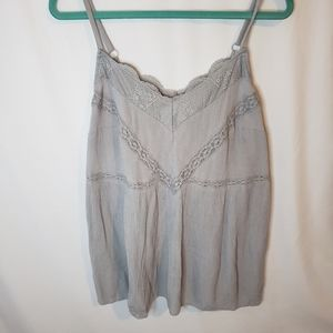 Torrid grey crepe babydoll tank with lace detail